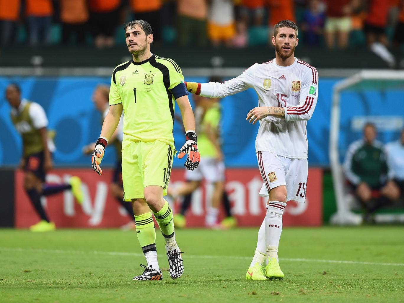 Iker Casillas is consoled by Sergio Ramos after conceding in the 5-1 defeat to the Netherlands