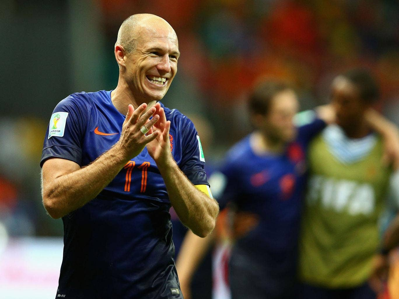 Arjen Robben celebrates the 5-1 victory over Spain