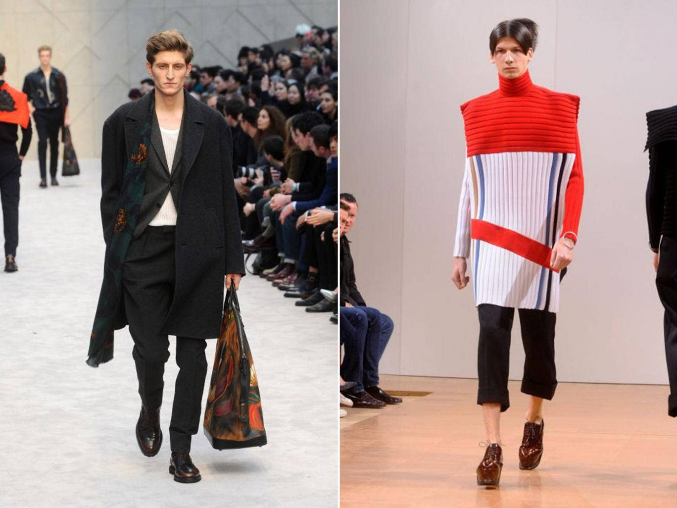A J W Anderson design, right, and left: Burberry separates