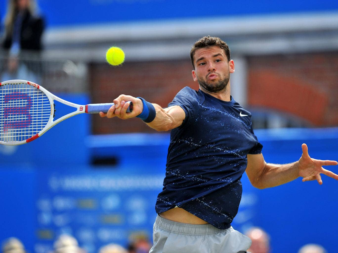 A buoyant Dimitrov on his way to a two-set victory