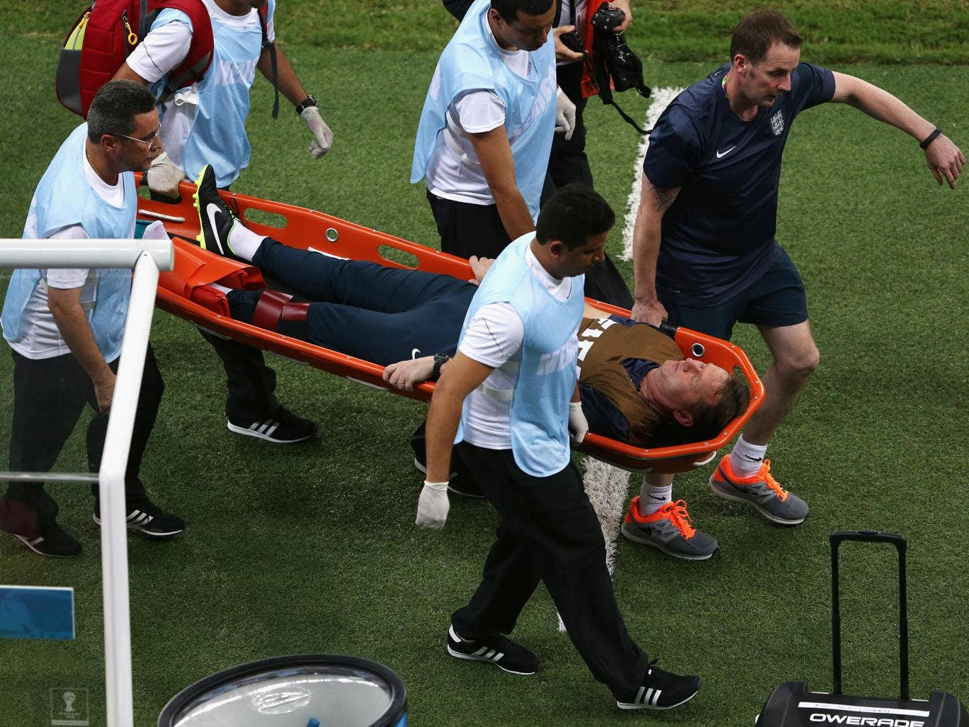 Gary Lewin is stretchered off