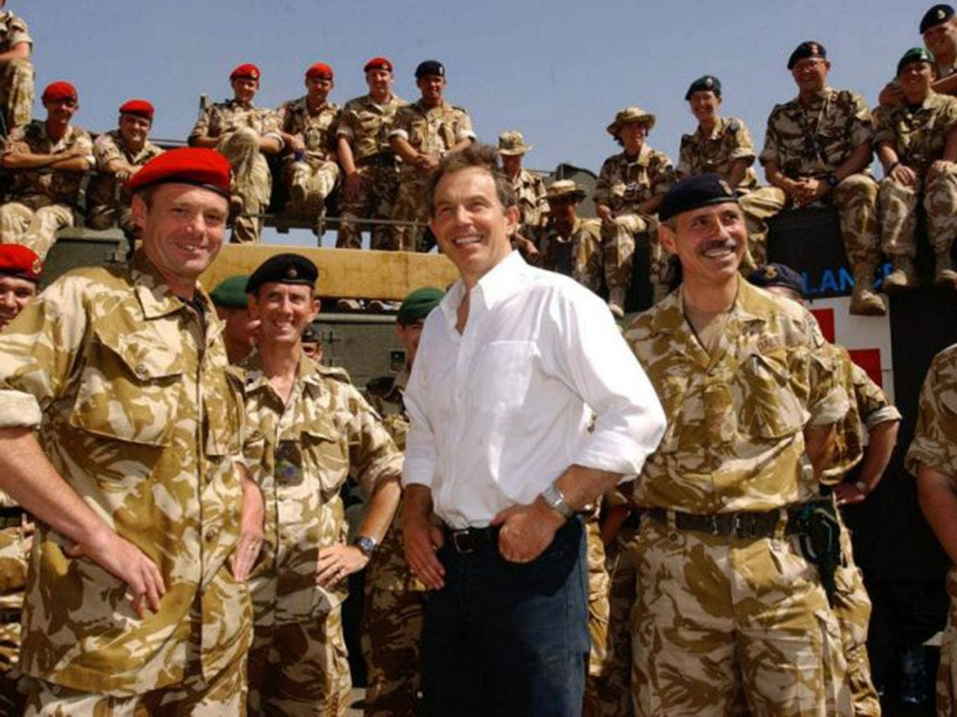 Tony Blair meeting troops in the port of Umm Qasr, Iraq in May, 2003