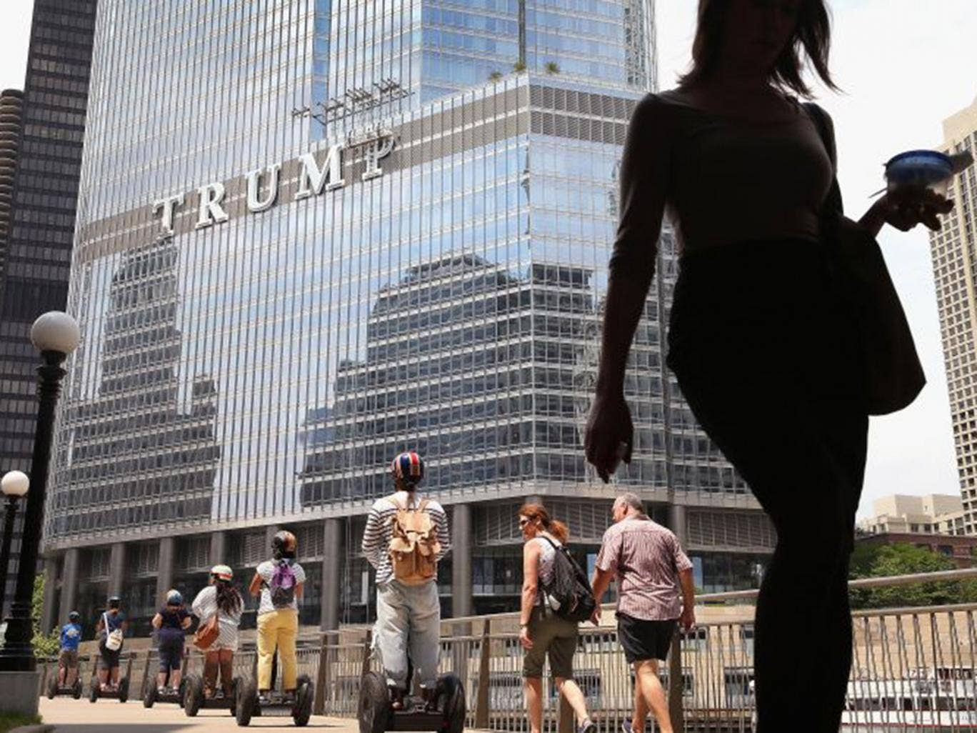 The Trump International Hotel and Tower in Chicago sports the businessman's new 20ft-high sign