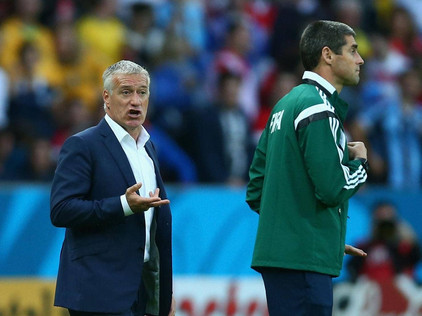 Didier Deschamps complains to the Fifa official following the confusion over Karim Benzema's strike