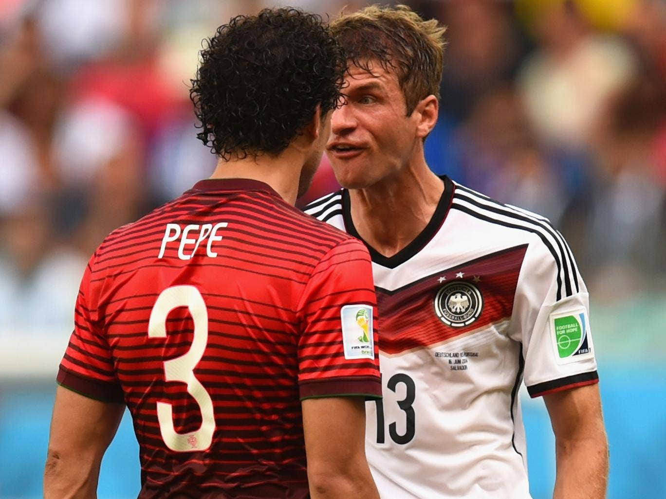 Thomas Mueller comes together with Pepe