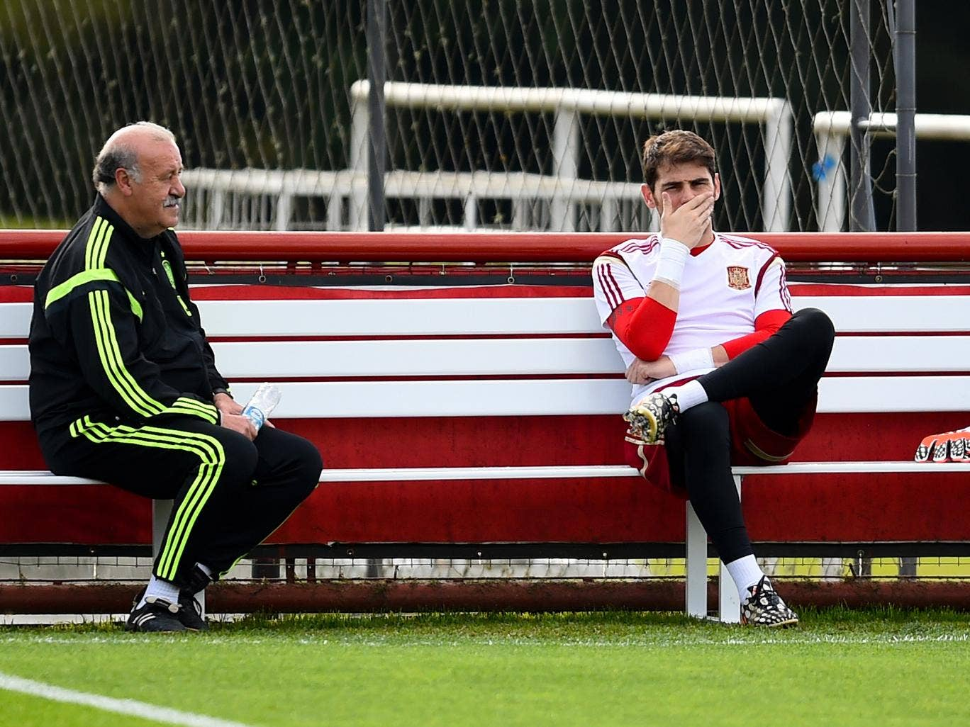 Head coach Vicente Del Bosque chats with Iker Casillas of Spain