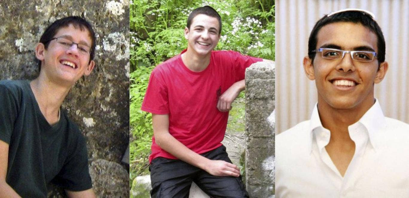 The three abducted Israeli seminary student, form left, Naftali Frankel, Gil-Ad Shaer and Eyal Yifrah were thought to have been hitchhiking in the West Bank when they were kidnapped