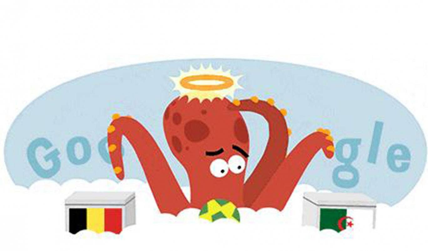 17 June 2014: Google celebrates the 2014 World Cup match between Belgium vs Algeria with a doodle honouring Paul the Octopus