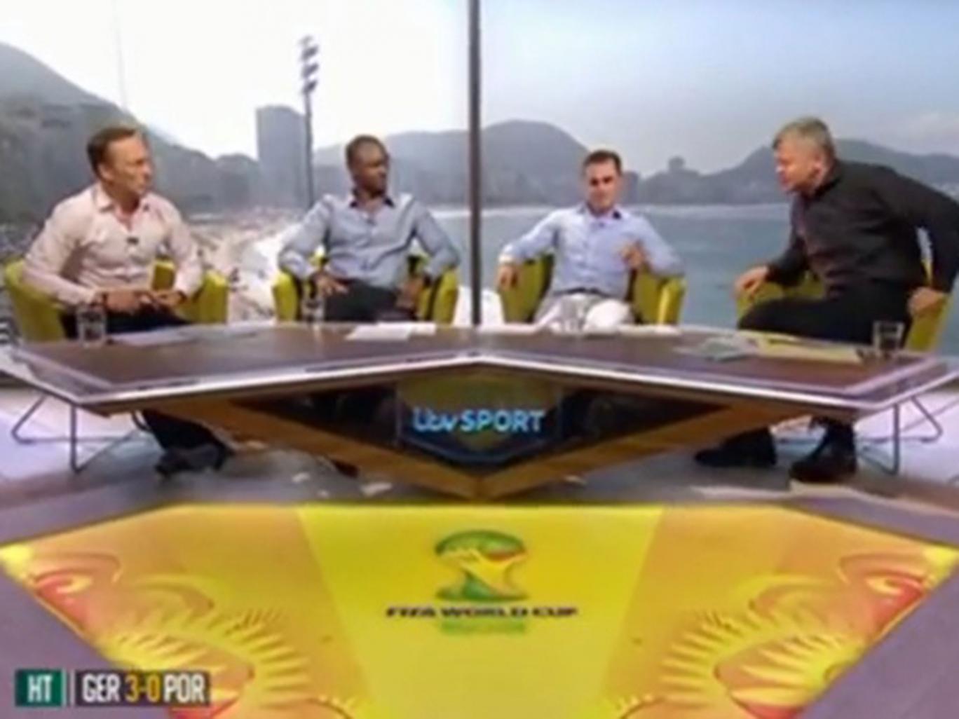 Left to right: Lee Dixon, Patrick Vieira, Fabio Cannavaro, Adrian Chiles in the ITV Studio