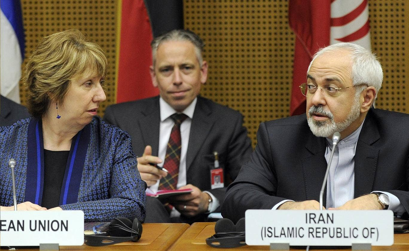 EU High Representative for Foreign Affairs  Catherine Ashton and Iran's Foreign Minister Mohammad Javad Zarif at nuclear talks in Vienna