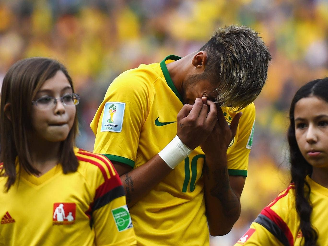 Neymar in tears during the Brazil national anthem before the game with Mexico