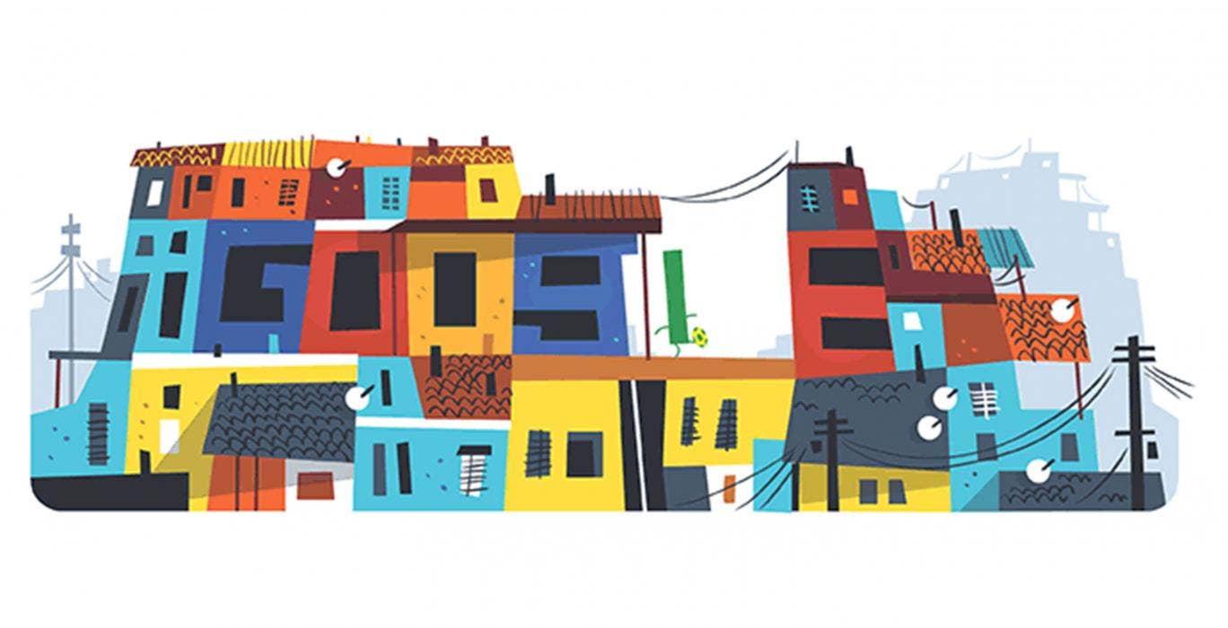 18 June 2014: Google has marked the seventh day of the 2014 World Cup with a doodle highlighting Brazil's favelas