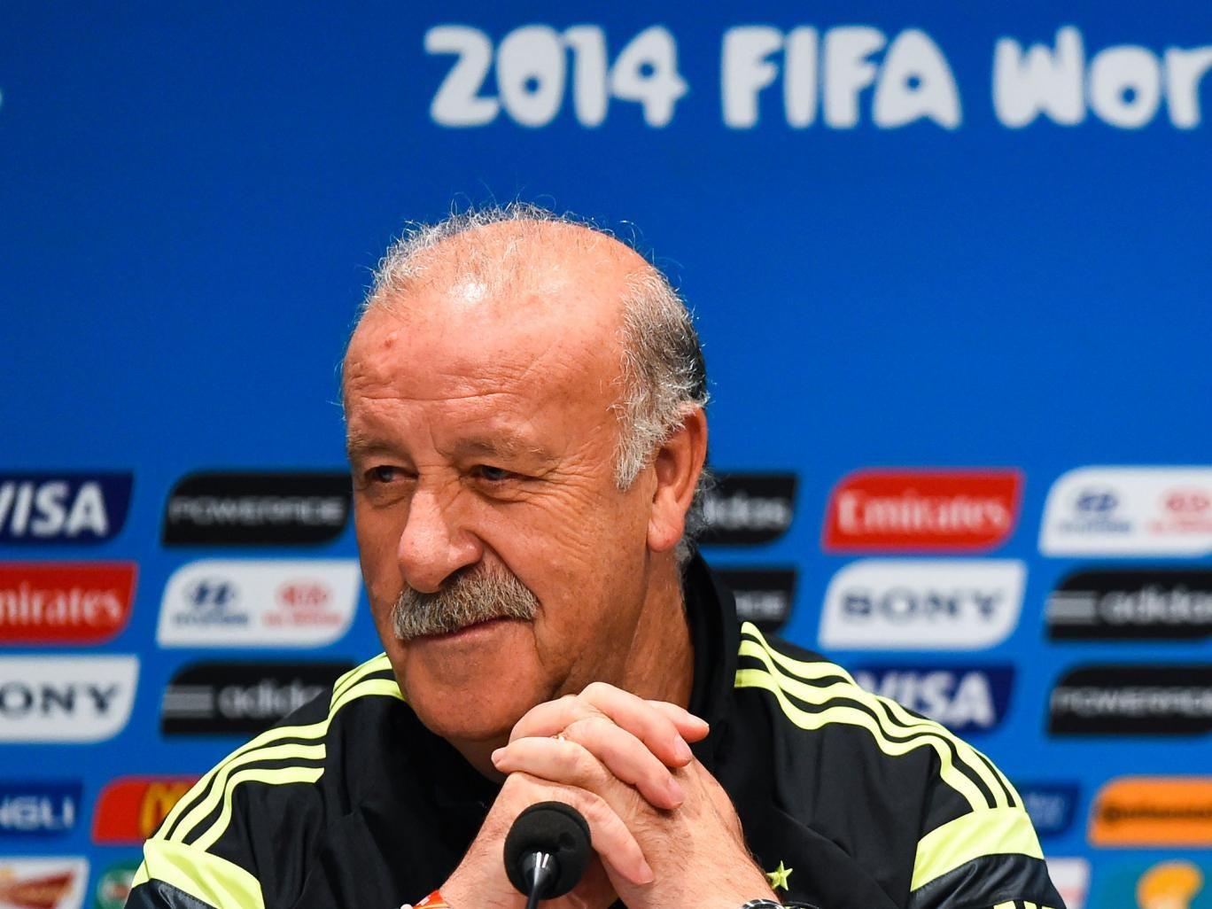 Head coach Vicente Del Bosque of Spain faces the media