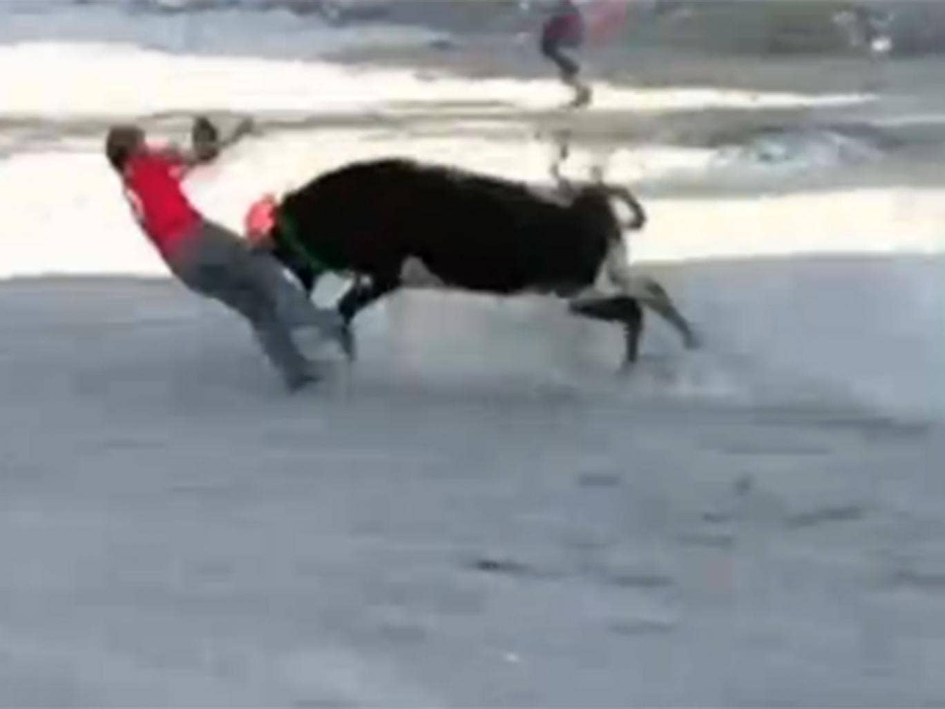 One man is knocked to the ground and attacked by the bull