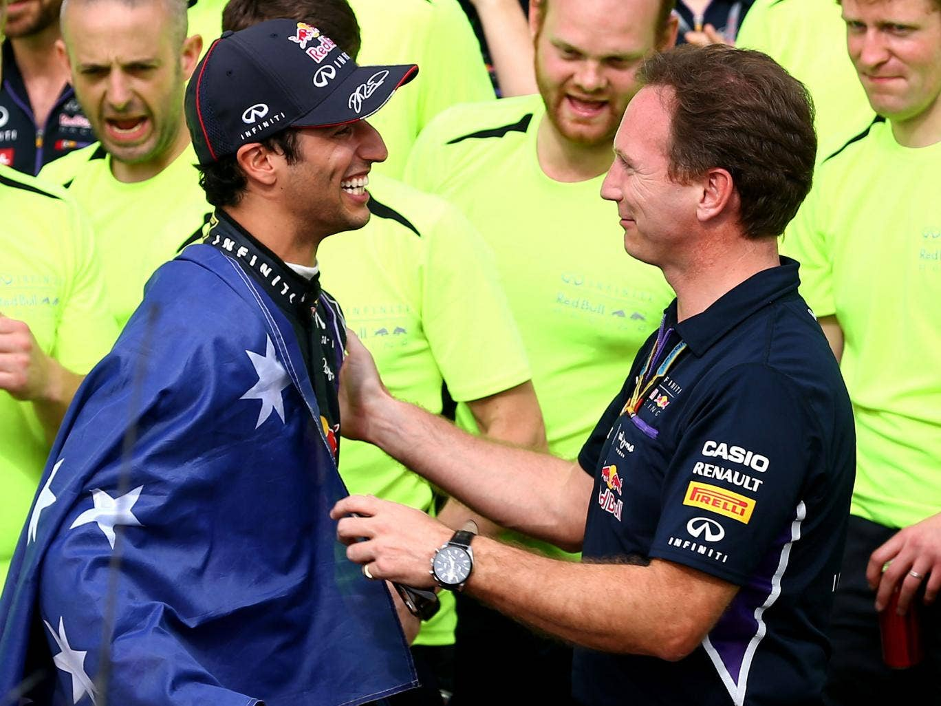 Daniel Ricciardo and Christian Horner celebrate the Canadian Grand Prix victory