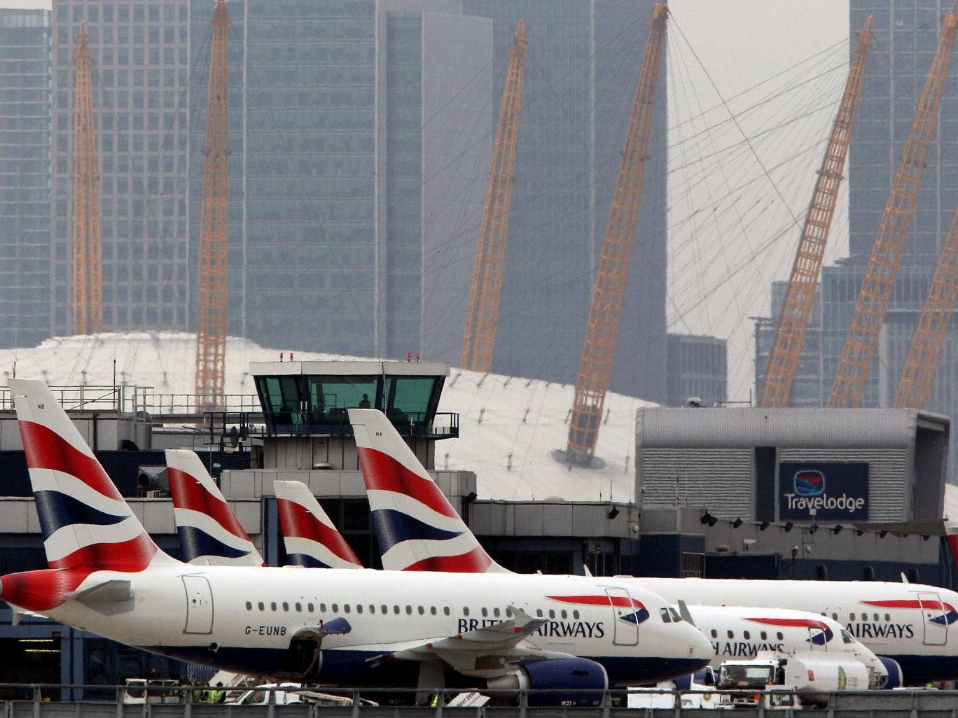 London City Airport had to be evacuated on Tuesday when a passenger who was running late for a flight to Frankfurt triggered the fire alarm after being blocked from boarding his plane.