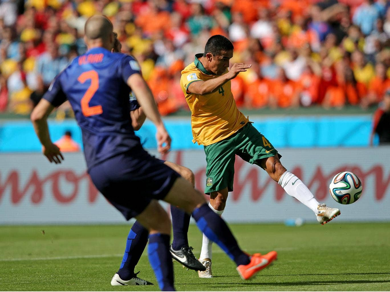 Tim Cahill strikes his astonishing volley against the Netherlands