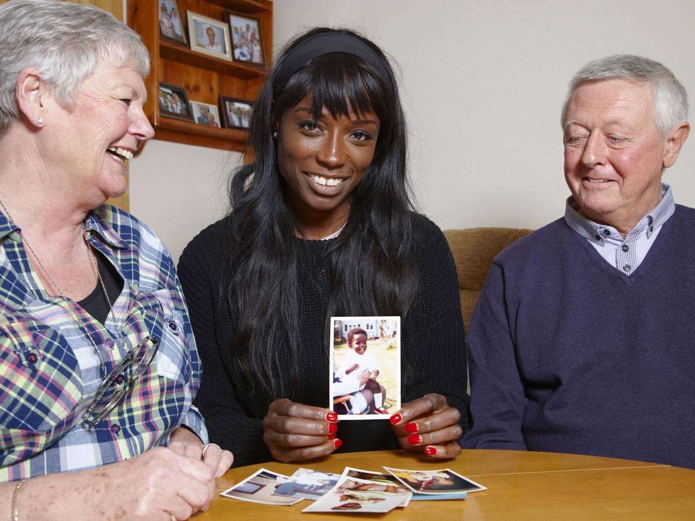 Lorraine Pascale and her foster carers from when she was a baby, Marion and John Bird