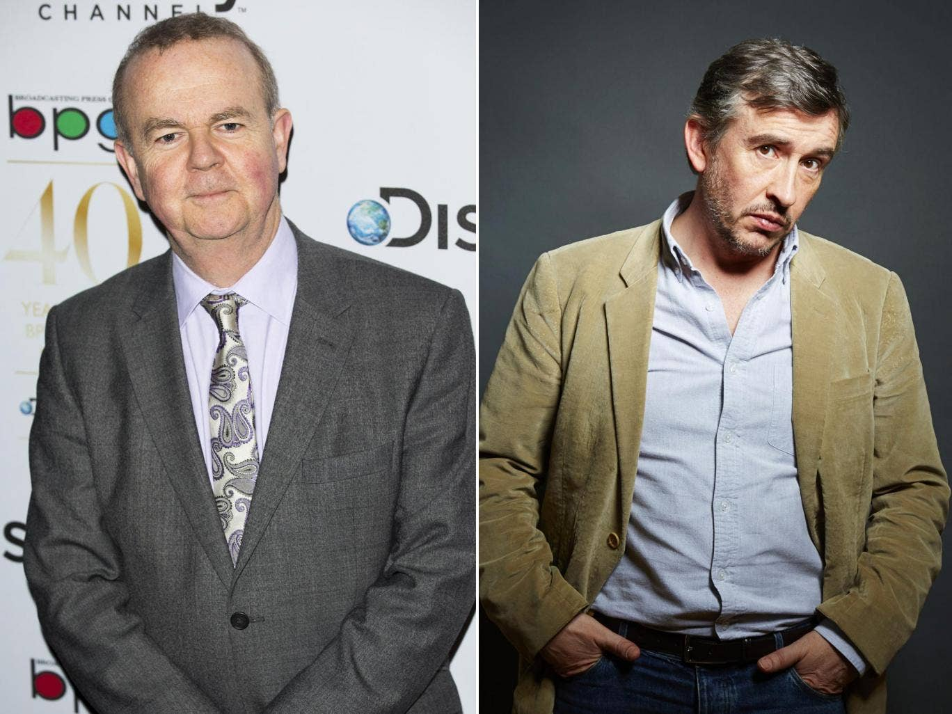 Hislop (left) did not comment but his deputy said Steve Coogan had no record of supporting free speech