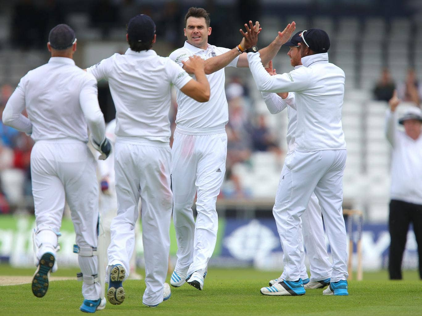 James Anderson of England celebrates taking the wicket of Kaushal Silva of Sri Lanka during day one of 2nd Investec Test match between England and Sri Lanka