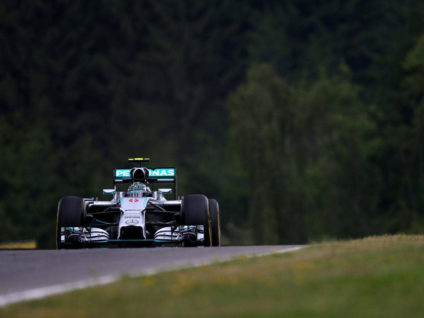 Nico Rosberg of Germany and Mercedes GP drives during practice ahead of the Austrian Formula One Grand Prix at Red Bull Ring on June 20, 2014 in Spielberg
