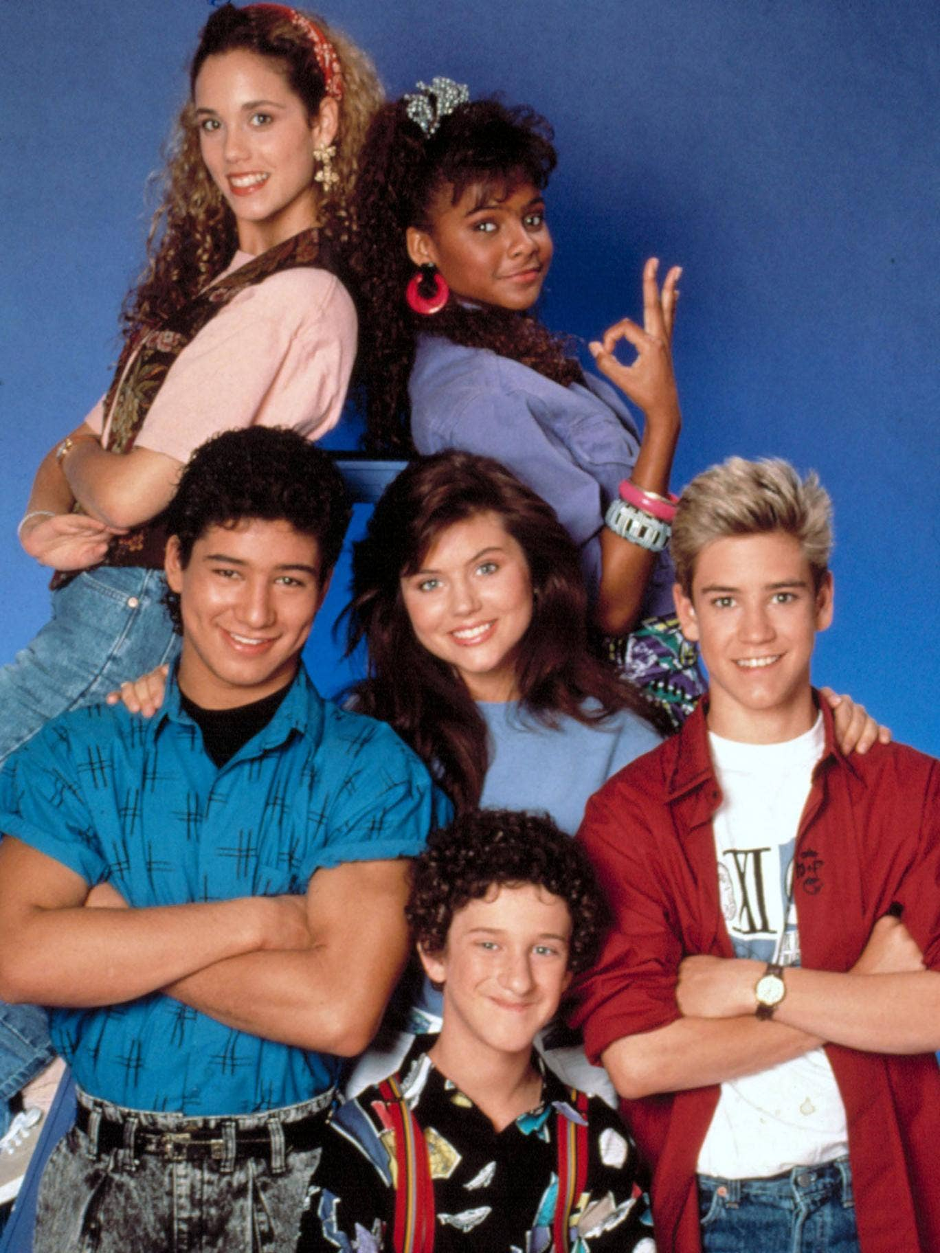 Elizabeth Berkley, Lark Voorhies, Mario Lopez, Tiffani-Amber Thiessen, Dustin Diamond and Mark-Paul Gosselaar starred in Saved by the Bell from 1989 to 1992
