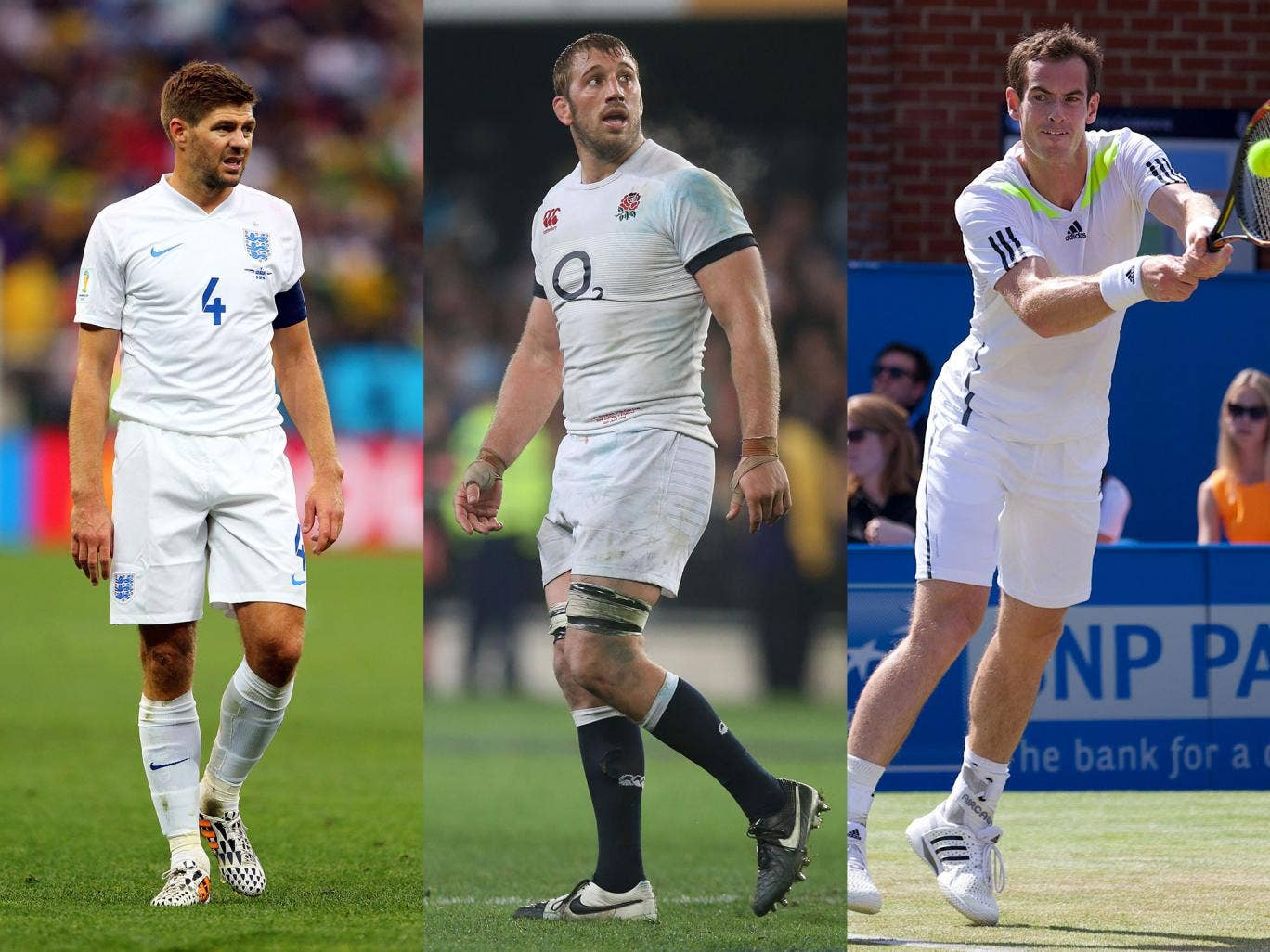 Steven Gerrard, Chris Robshaw and Andy Murray