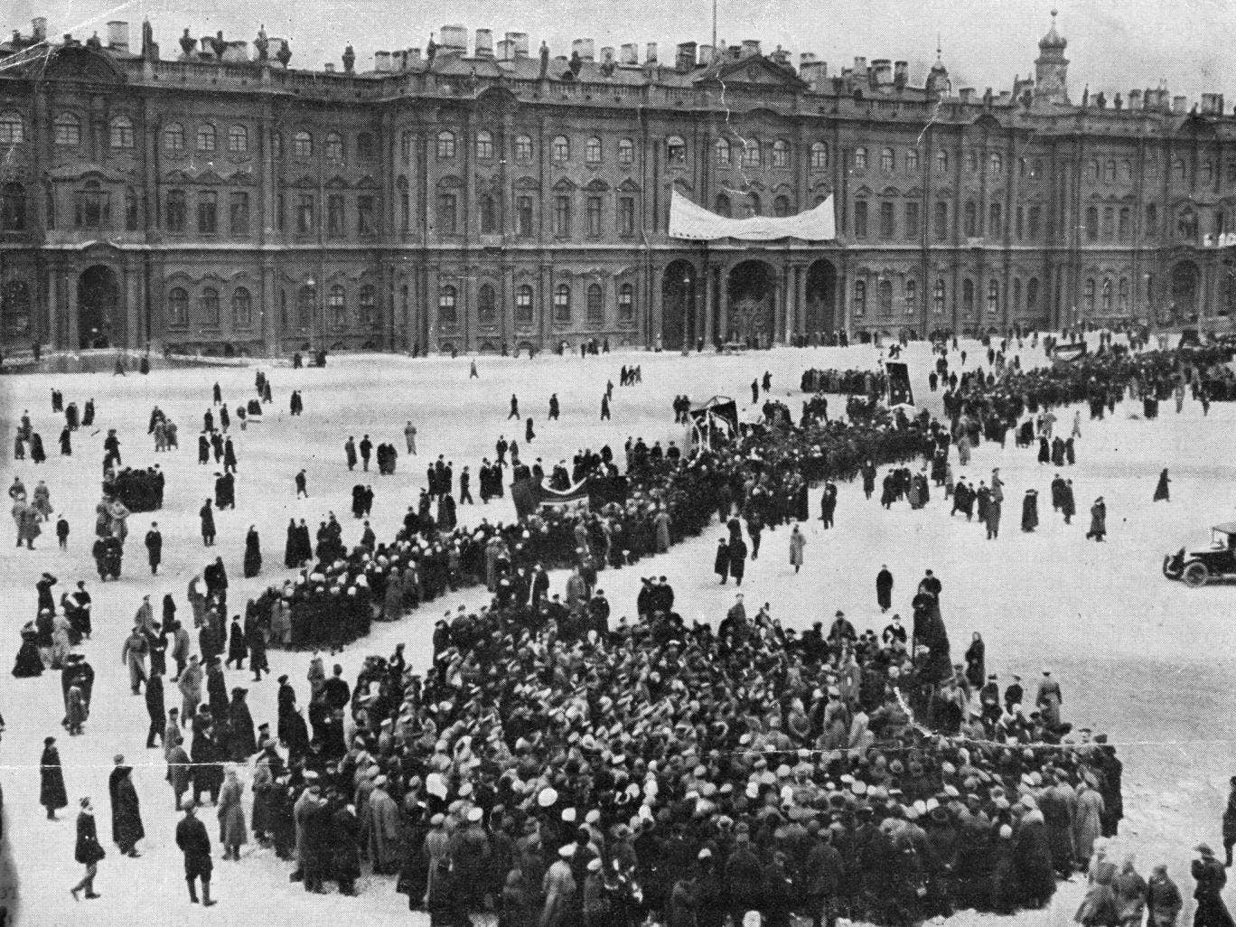 Crowds at Petrograd's Winter Palace during the October Revolution. (Russia still used the Julian calendar, in which the West's 7 November equated to 25 October.)