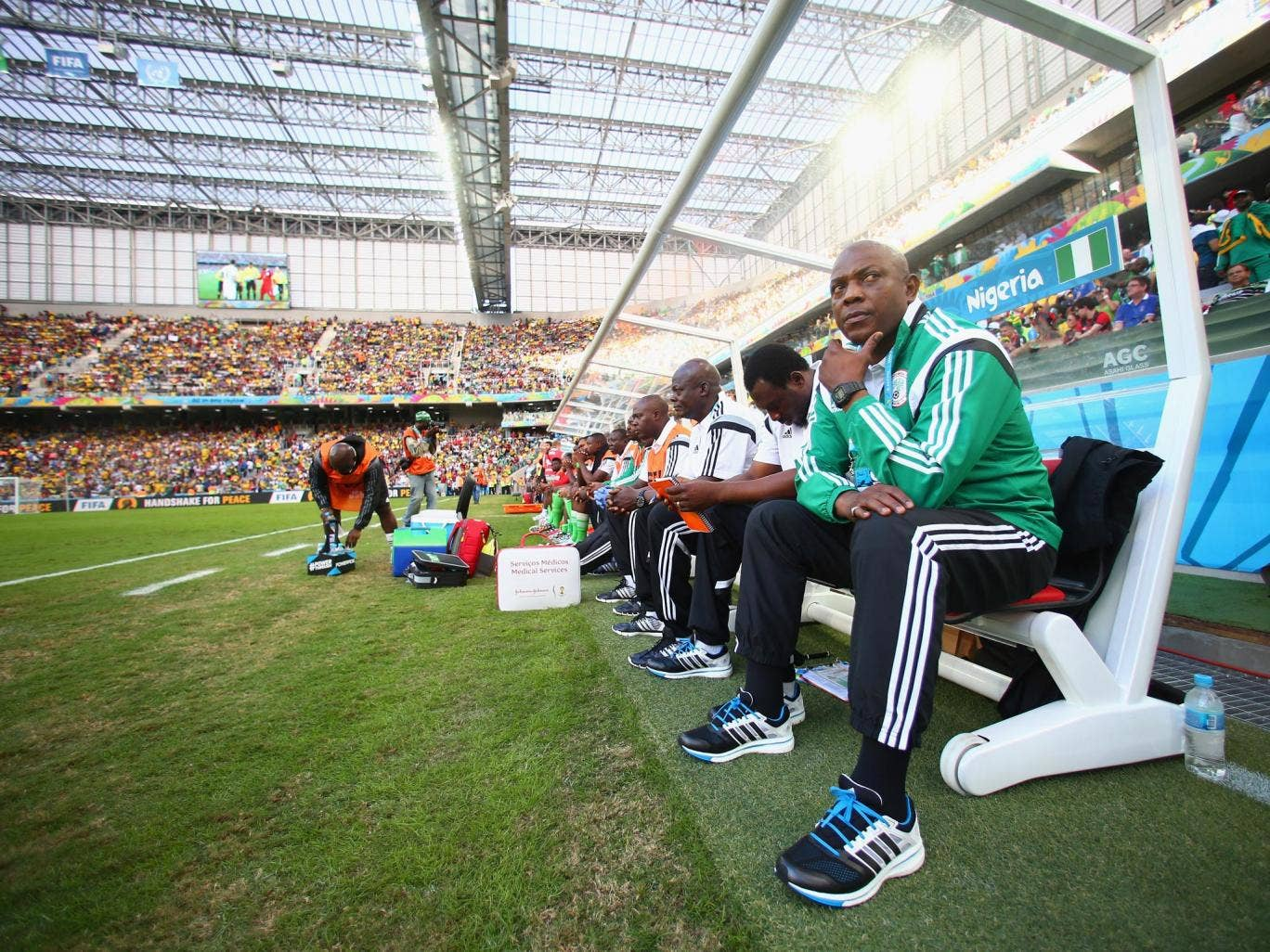 Stephen Keshi, the Nigeria coach, watches his side get held to a draw by Iran
