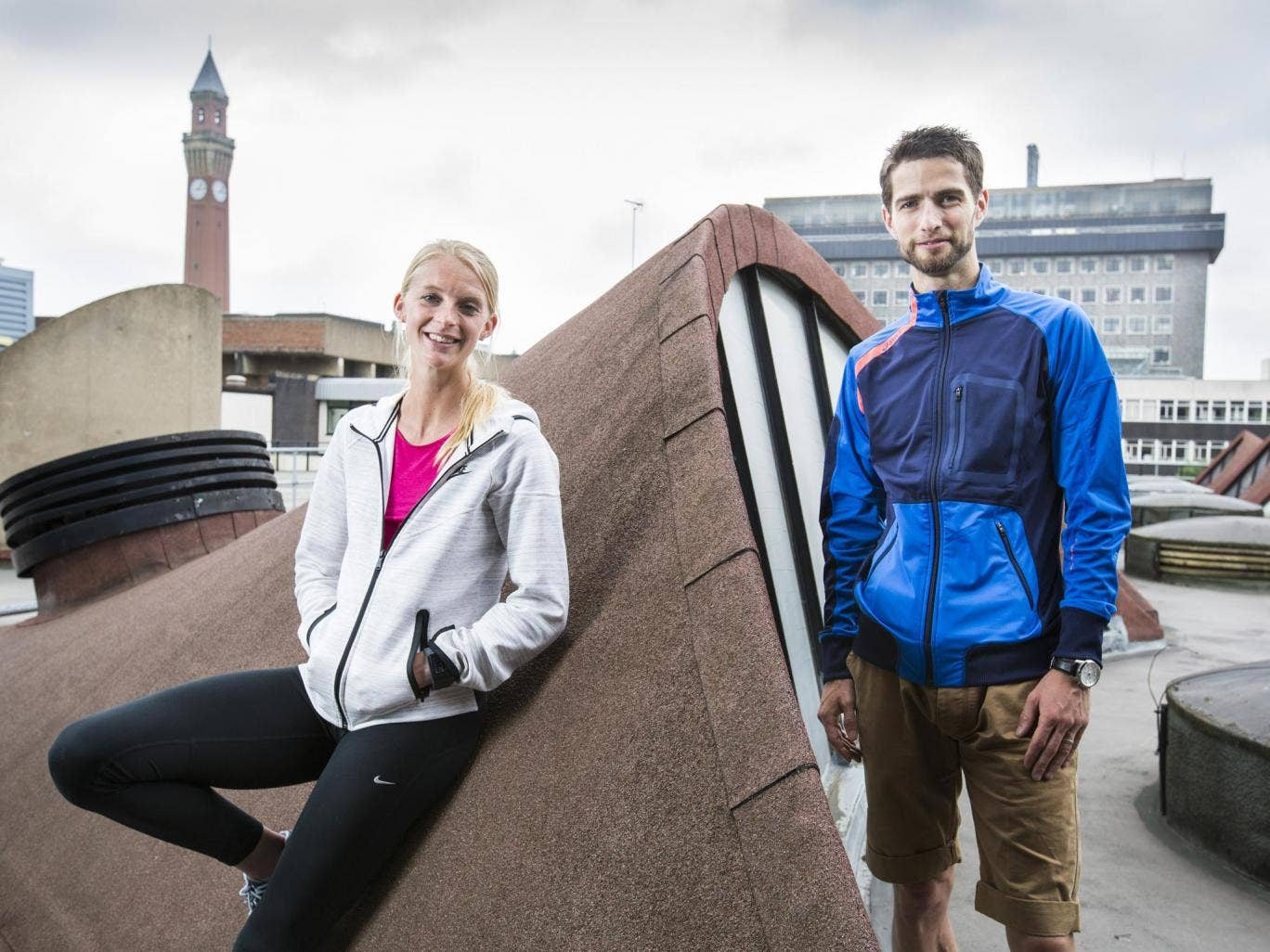 Hannah England and Luke Gunn at the sports centre of their Birmingham University base, where they met