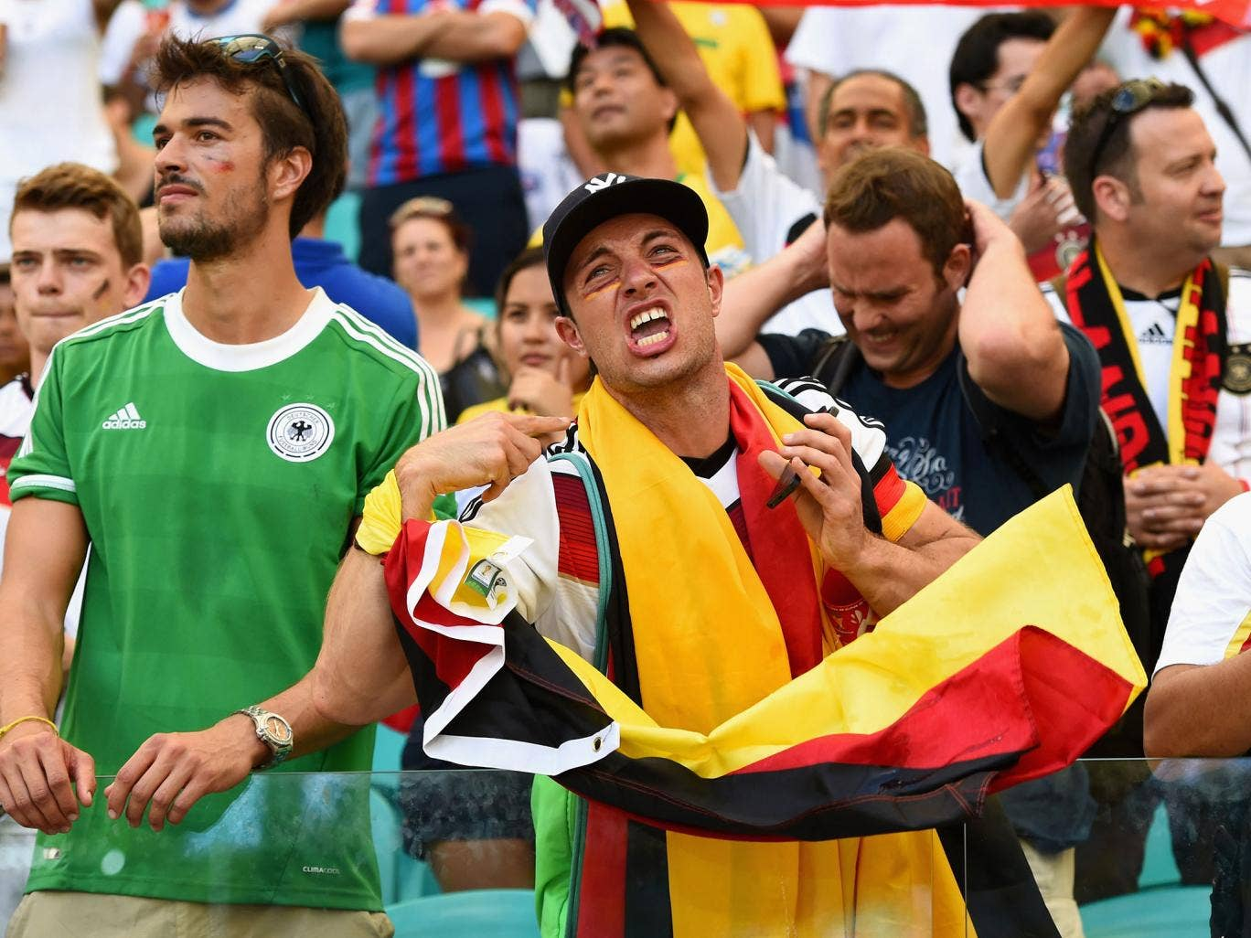 Germany fans celebrate the 4-0 victory over Portugal