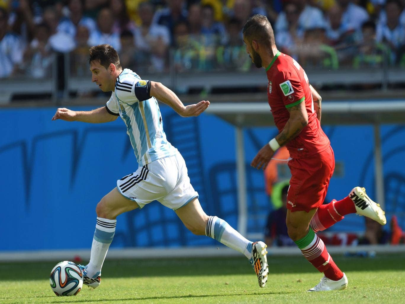 Lionel Messi in action for Argentina against Iran