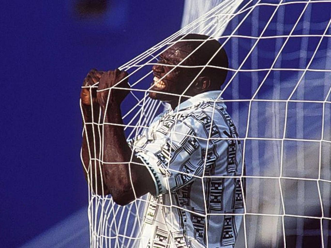 Rashidi Yekini scores Nigeria's first World Cup goal in 1994 but his life ended horribly