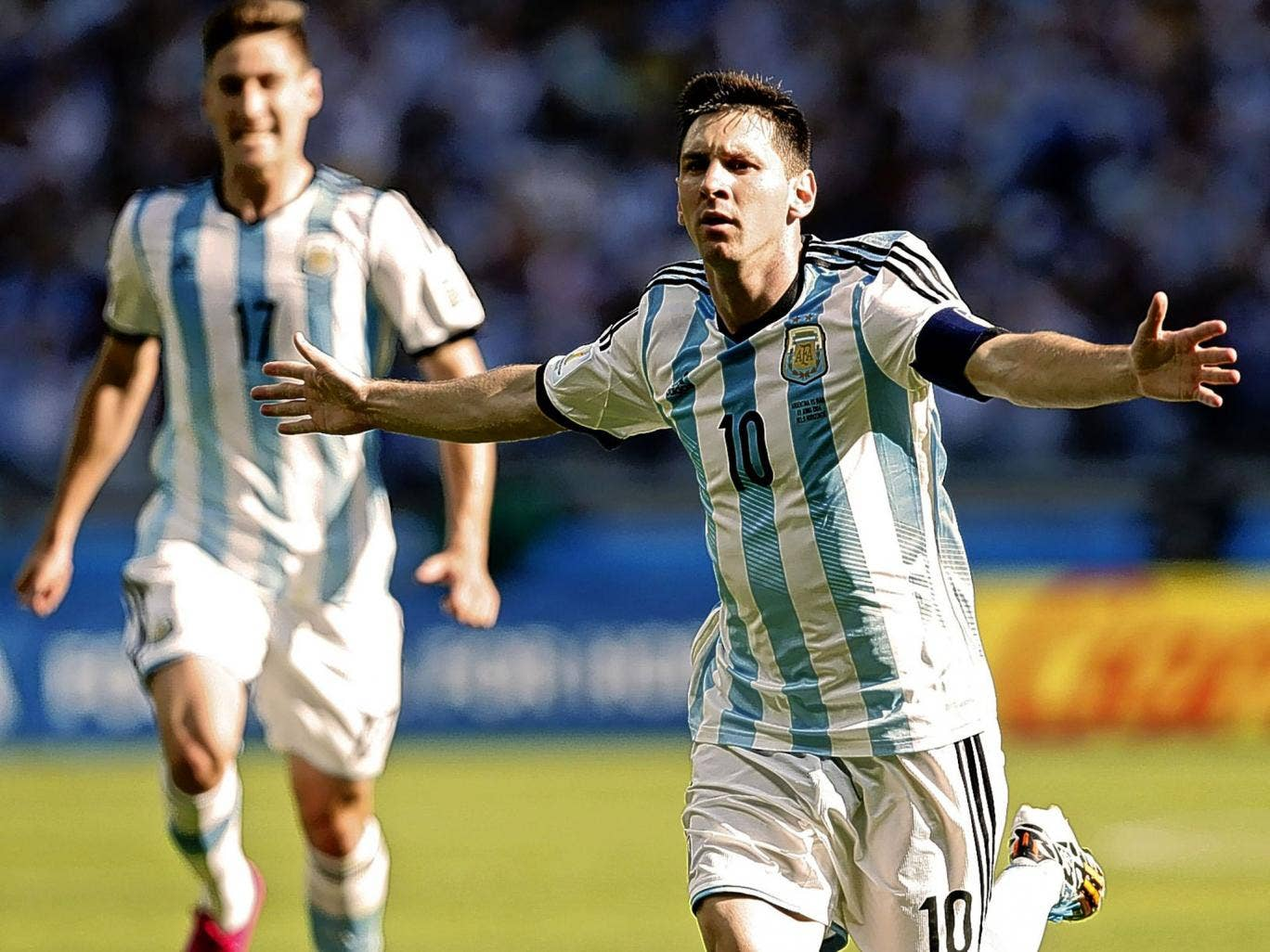 Happy ending: Lionel Messi is jubilant and relieved as he scores the goal in Belo Horizonte yesterday that put Argentina into the knockout stages