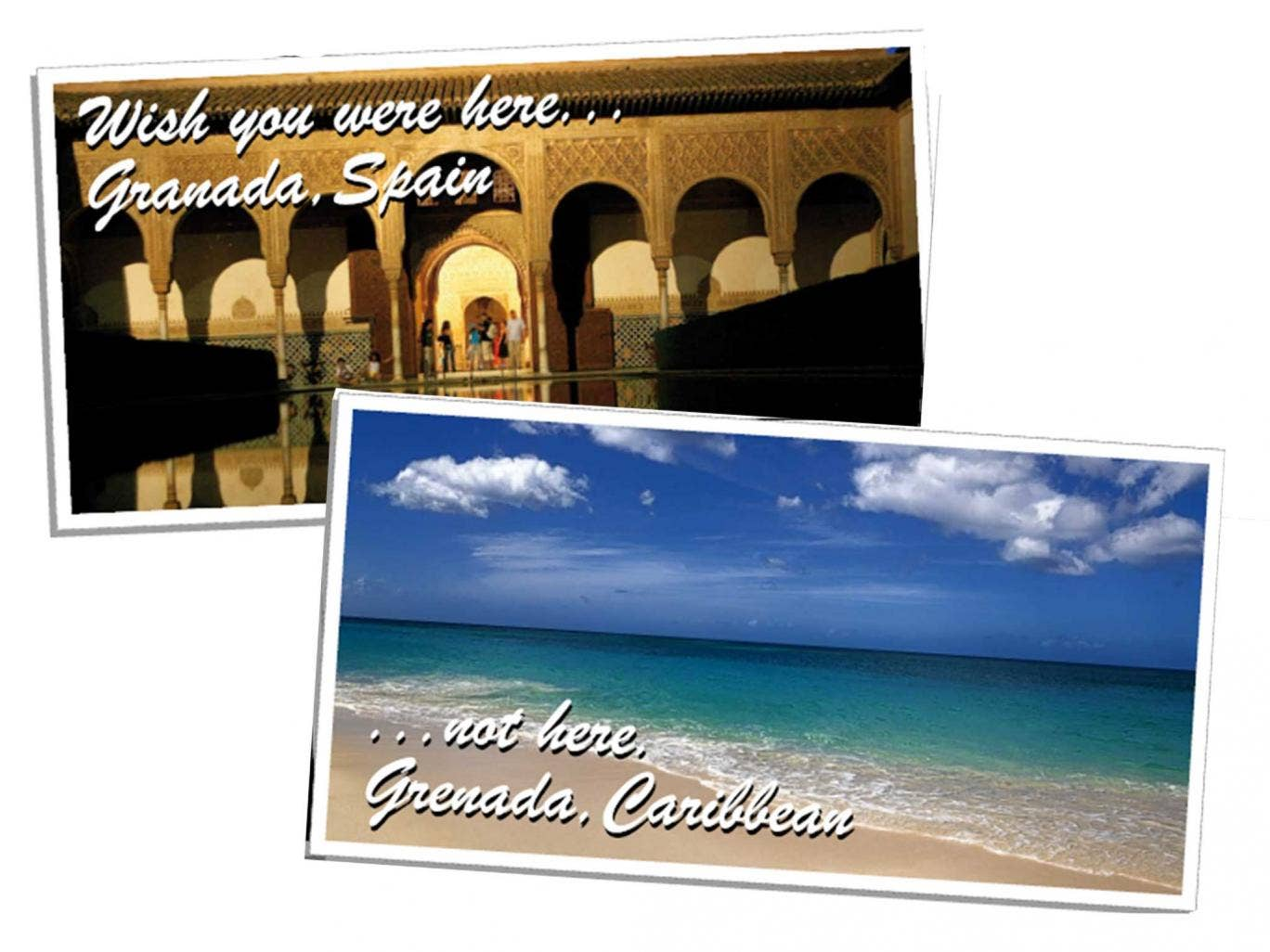 Wish you were here, not there: Mr Gamson flew to Grenada, bottom, not Granada, top