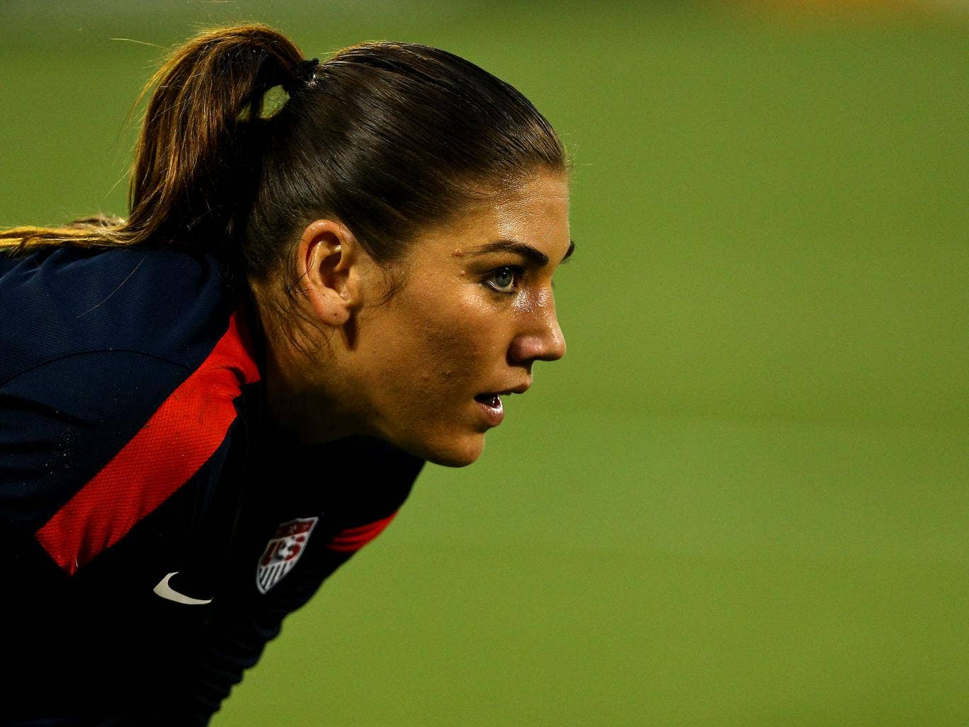 Hope Solo playing for the US national team against Mexico in September 2013