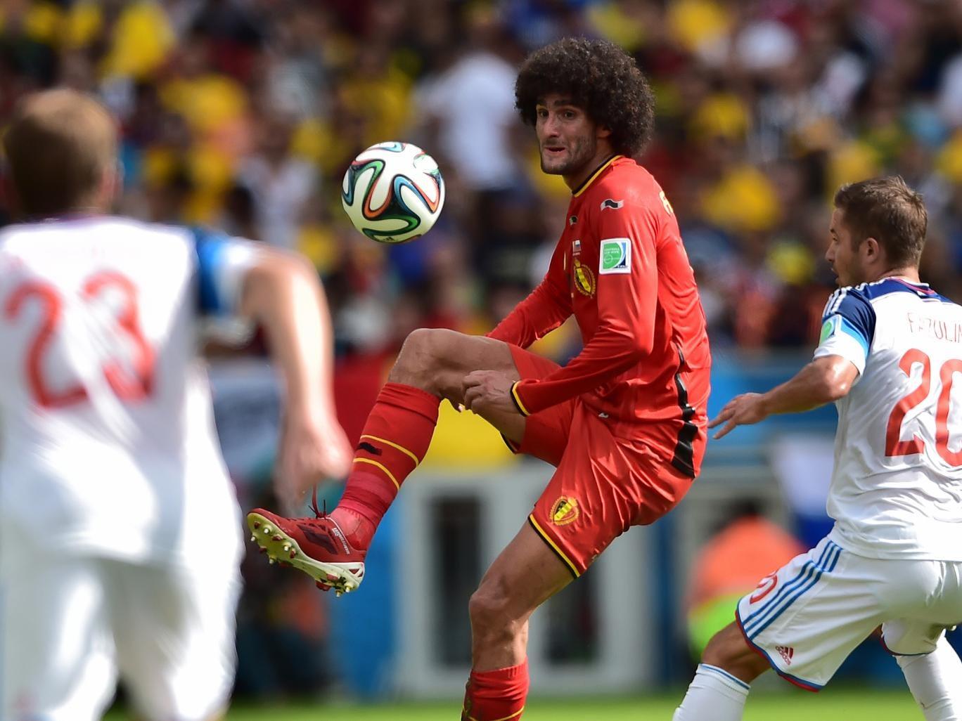 Fellaini in action for Belgium against Russia