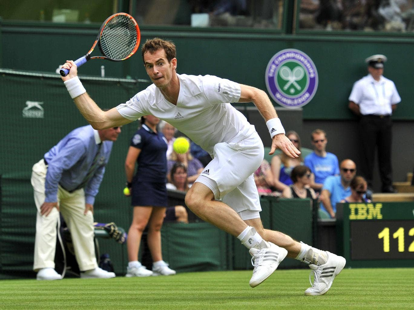 Andy Murray in action on the first day of Wimbledon