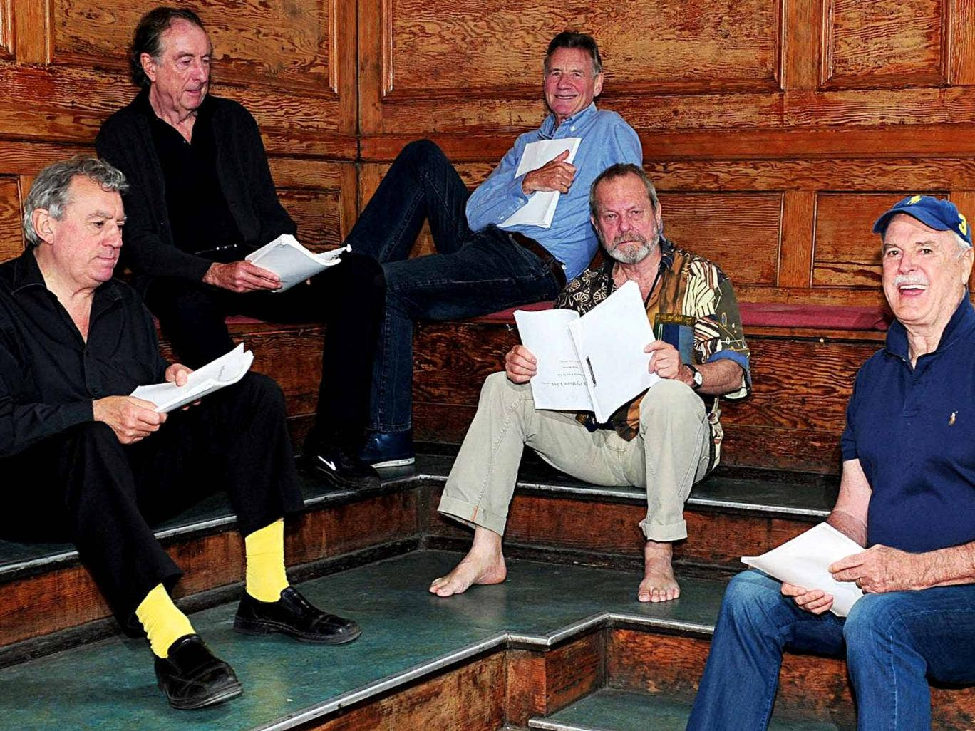 Old men behaving badly: (from left) Terry Jones, Eric Idle, Michael Palin, Terry Gilliam and John Cleese in rehearsals for the London show