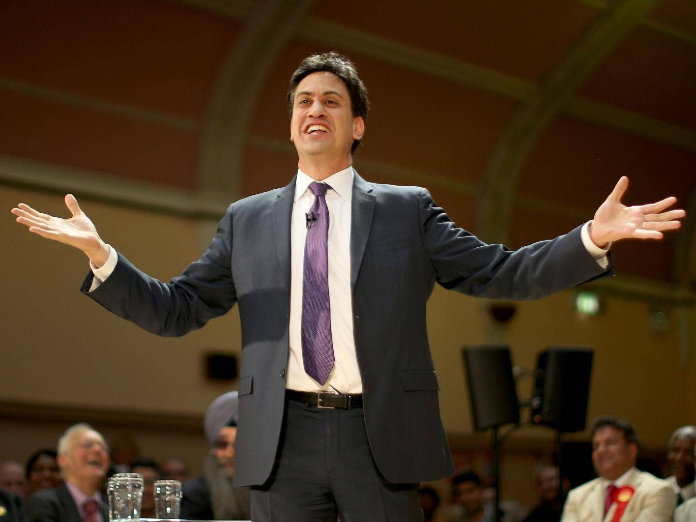Labour Party Leader Ed Miliband speaks to supporters at Bloxwich Leisure Centre on May 19, 2014 in Walsall, England. During his speech Mr Miliband said that a future Labour government would set a statutory minimum wage target linked to average earnings. T