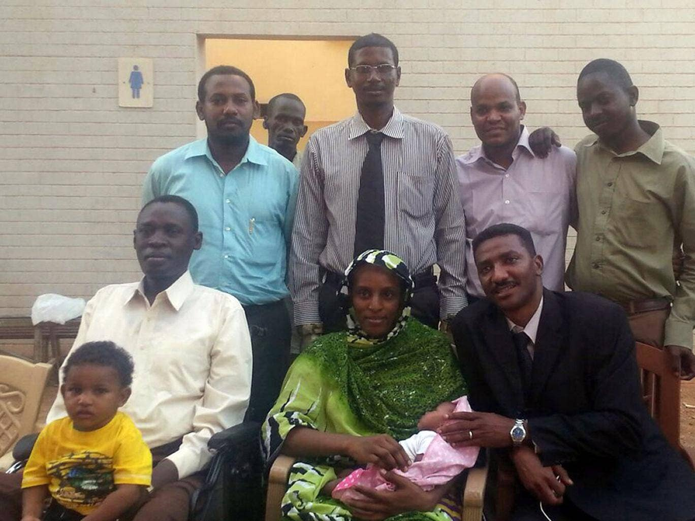 Meriam Ibrahim, her family and her legal team in a photo taken after she was freed on Monday