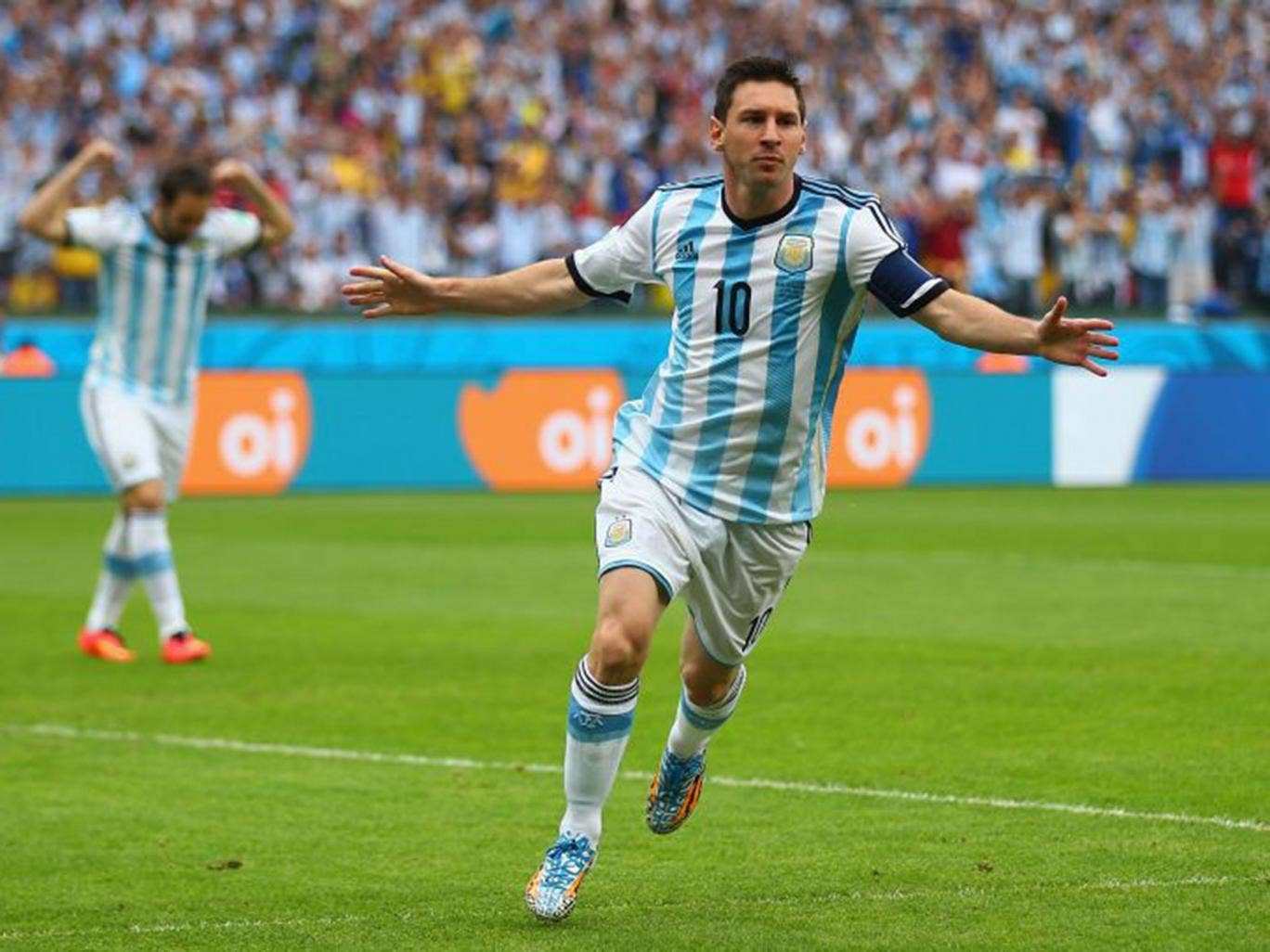 Lionel Messi celebrates putting Argentina ahead in the 3rd minute of their final group game with Nigeria