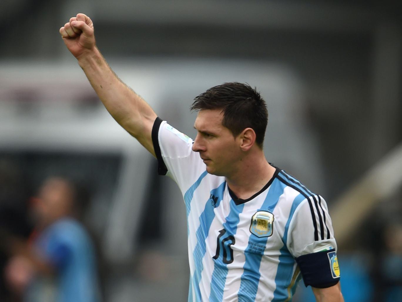 Lionel Messi celebrates his second goal for Argentina