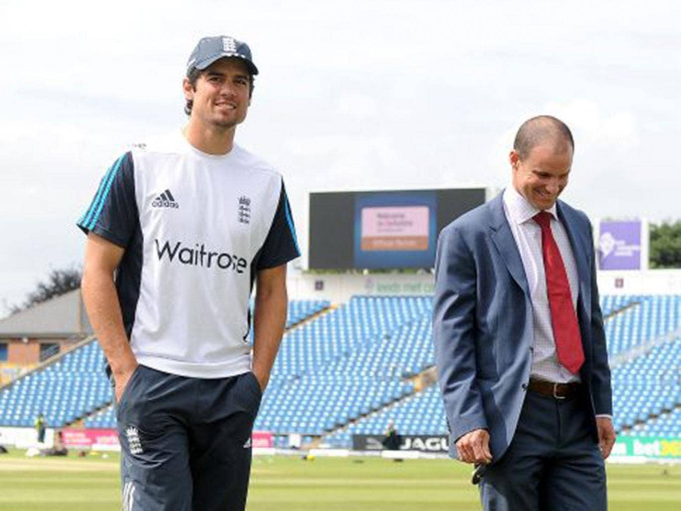 England captain Alastair Cook (left) talks to predecessor Andrew Strauss before the fifth day of the second Test against Sri Lanka