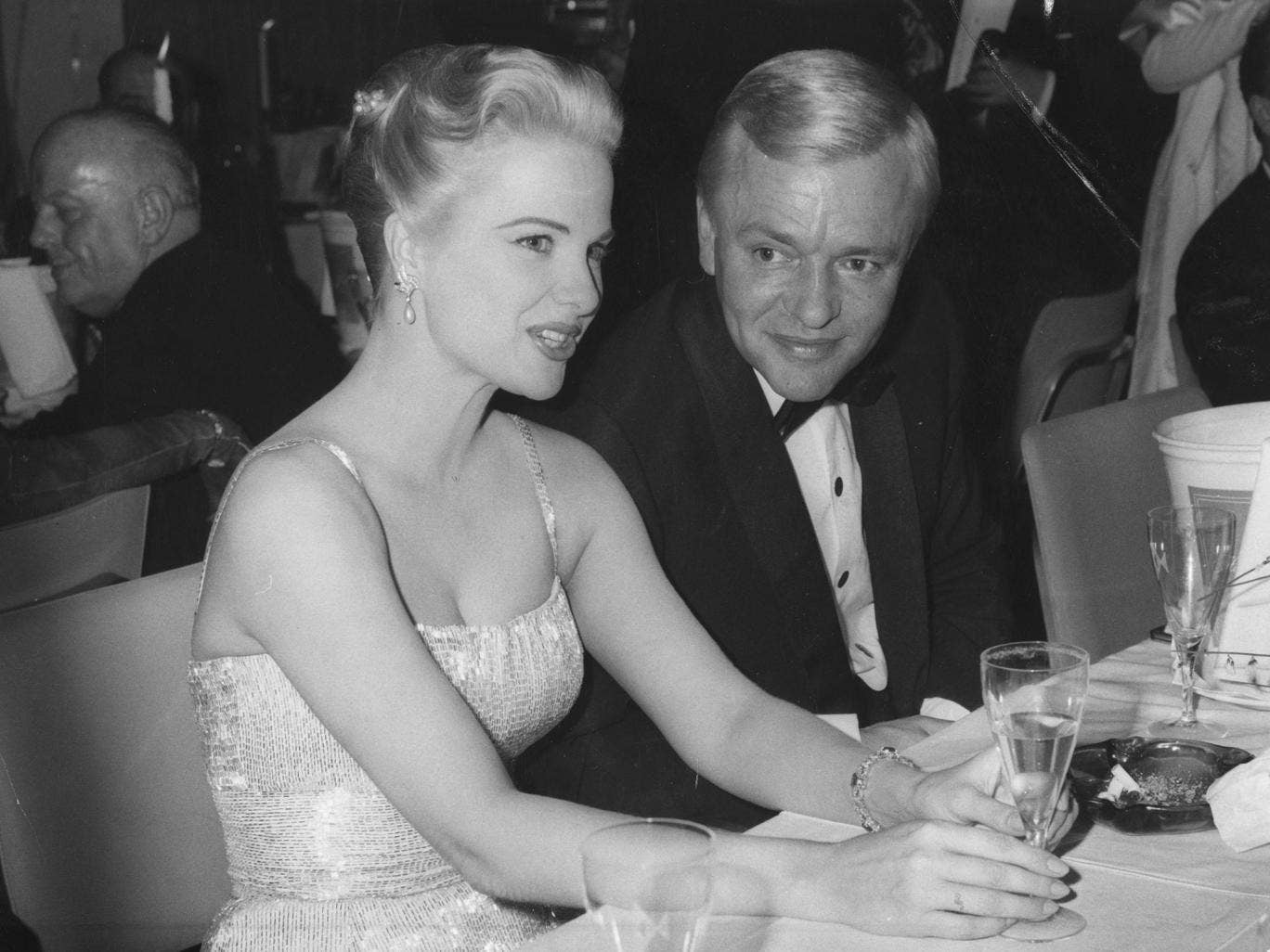 21st February 1960: American actress Martha Hyer and Peter van Eyck at the 1960 Film Ball at the Hilton Hotel in Berlin.