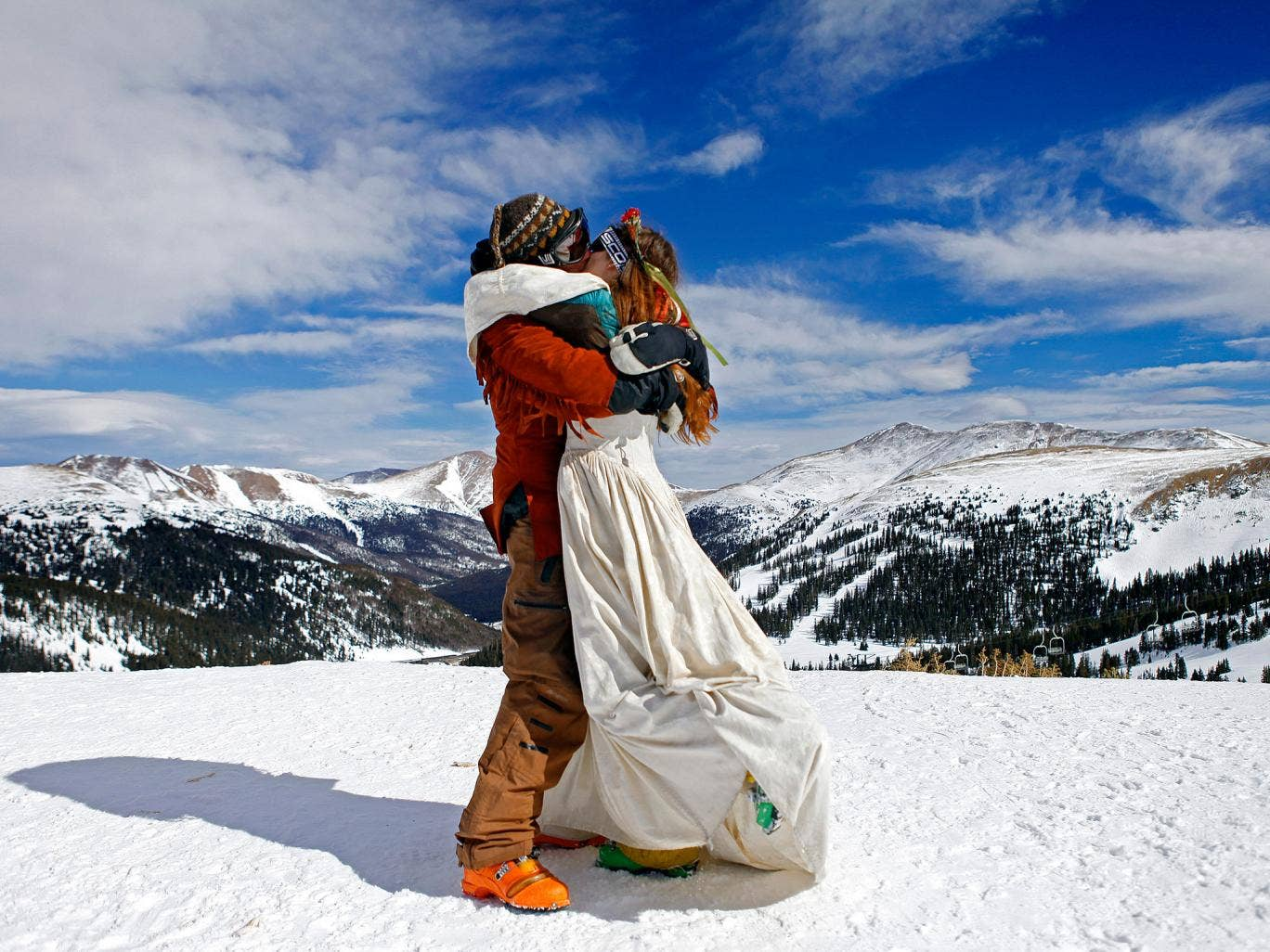 The government's new plans mean weddings could be held on mountaintops; like here at the 20th Annual Marry Me & Ski Free Mountaintop Matrimony in Loveland, Colorado.