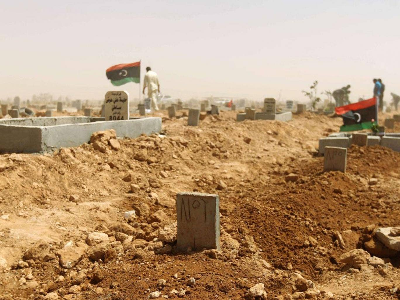 The grave of Libyan human rights activist and lawyer Salwa Bugaighis outside Benghazi