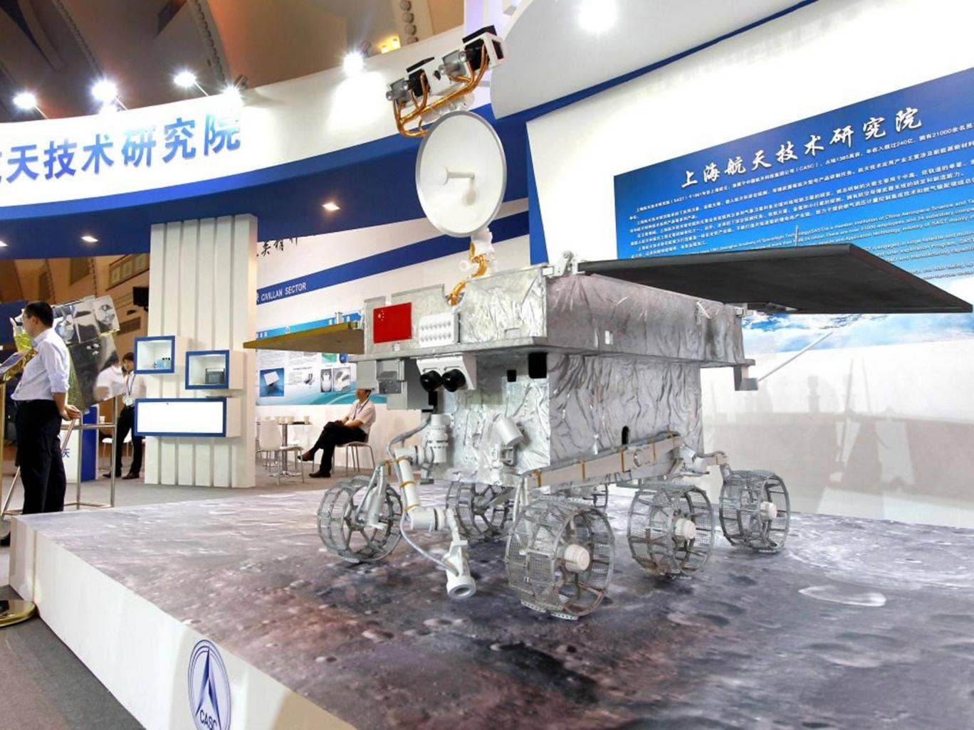 A model of Yutu, China's Moon rover, named after the pet rabbit of Chang'e, the goddess of the Moon in Chinese mythology