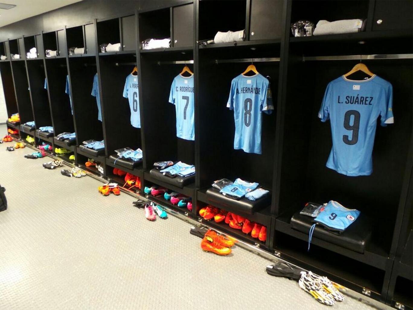 Uruguay team support for Luis Suarez