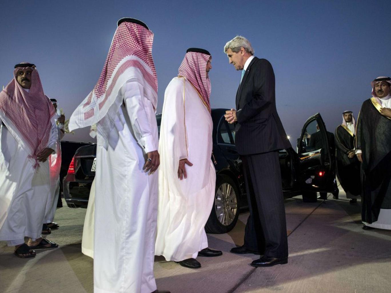Shuttle mission: John Kerry says farewell to Saudi Foreign Minister Prince Saud al-Faisal (centre) in Jeddah last week